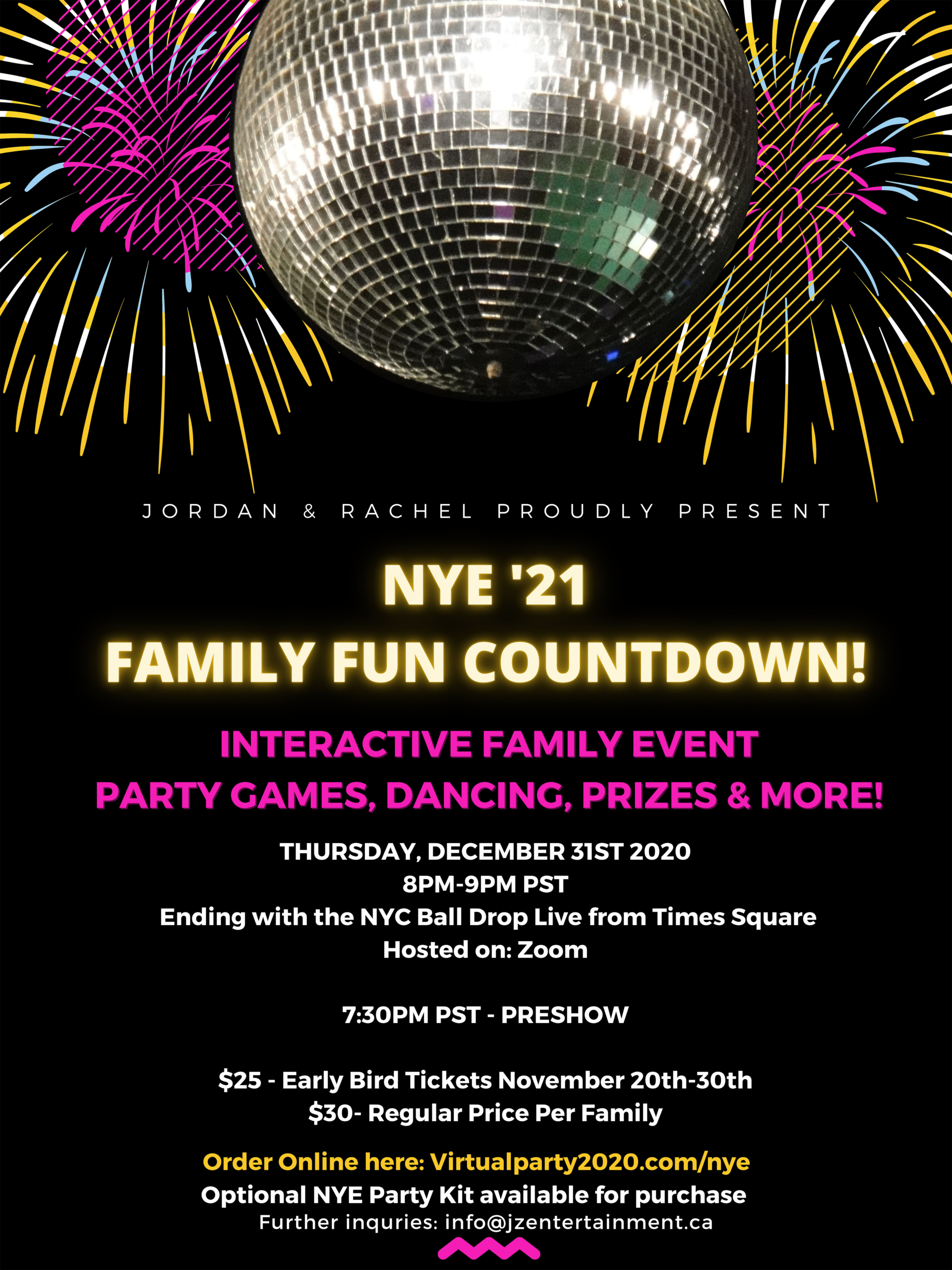 Illustrated Balloons and Confetti NYE Party Poster